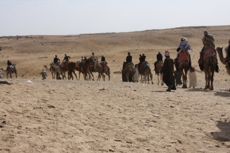The group rides at Giza