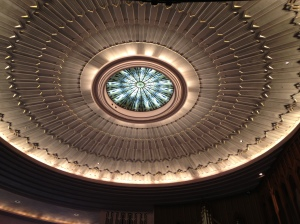 The ceiling of the sanctuary of Boston Avenue Methodist Church.
