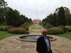 Professor Farrell in the Philbrook's gardens.