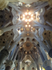 Sagrada Familia's spectacular ceiling.