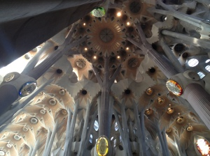 Intersection of the nave and transept of Sagrada Familia.