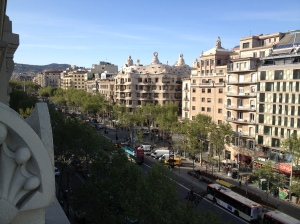 The view of Gaudi's Casa Mila from the roof terrace of our hotel.