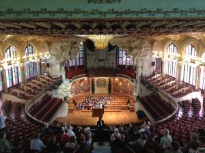 The concert hall of the Palau de la Musica Catalana.