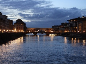 The Ponte Vecchio the evening of our arrival.
