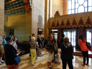 In the lobby of the Guardian Building.
