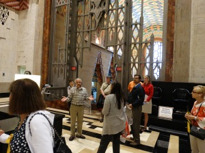On the retail mezzanine of the Guardian Building.