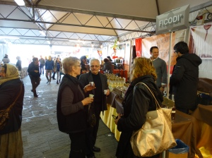 Sampling items at the Chocolate Fair in the Piazza di Santa Maria Novella.