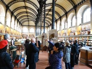 The interior of the Bibliotheque Sainte-Genevieve.