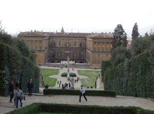 A view of Palazzo Pitti from the Boboli Gardens.