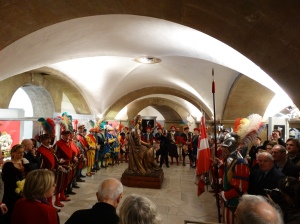 The ceremony at San Lorenzo marking the 450th anniversary of the birth of Galileo and the death of Michelangelo.