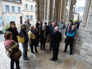 At the transept door of Chartres cathedral.