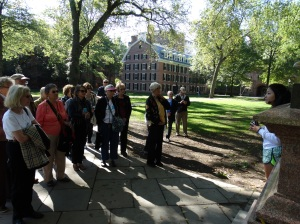 At Old Campus with Mackenzie, our Yale University tour guide.