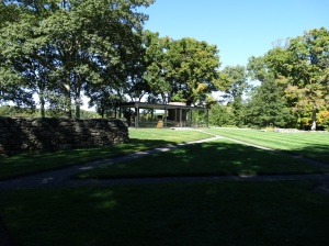 Approaching Philip Johnson's Glass House (1949).
