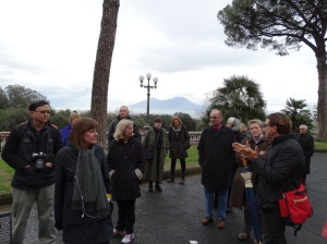 In Naples, with Vesuvius in the background